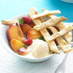 These delicious Skillet Peaches a la Mode are an easy-to-make summer dessert. Recipe: www.bhg.com/recipe/desserts/skillet-peaches-a-la-mode/?socsrc=bhgpin071112skilletpeaches