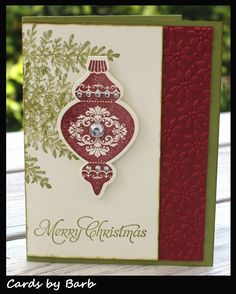 Stampin Up Christmas card; Lovely as a Tree, Holiday Ornaments - Like this way of using the tree stamp Christmas Cards 2017, Stamped Christmas Cards, Christmas Card Crafts, Merry Christmas Card, Stampin Up Christmas, Xmas Cards, Holiday Cards, Christmas Ornaments, Simple Christmas