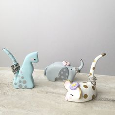Whimsical Ring Holders; handcrafted in polymer clay & painted, these darling animal ring holders will certainly make one smile! Three animals to choose from, pick your favorite! Limited edition. ($ 30./ea.) #ringholder #jewelrydisplay #giftideas