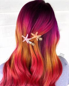 OBSESSED with this sleek + sunny color melt by - try our Fuchsia + Fire Opal + True Lust for a similar melt! Bright Pink Hair, Vivid Hair Color, Hot Pink Hair, Dark Pink Hair, Brown Hair, Black Hair With Blonde Highlights, Hair Highlights, Beach Waves Long Hair, Beach Hair