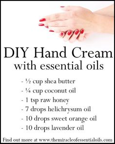 DIY Healing Essential Oil Hand Cream for Soft Smooth Hands - The Miracle of Essential Oils Essential Oils For Face, Young Living Essential Oils, Organic Skin Care, Natural Skin Care, Natural Hair, Helichrysum Oil, Face Makeup Tips, Homemade Beauty, Diy Beauty