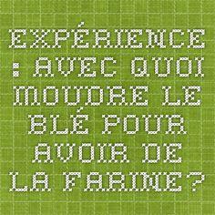Exprience Avec Quoi Moudre Le Bl Pour Avoir De La Farine