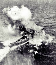 A bomb from a US B-25 bomber wrecks a Japanese patrol boat, November 10, 1944, in the Bay of Ormoc (Philippines). The patrol boat was on convoy duty.