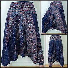 Hippy Hippie Boho Festival Peacock Genie Aladdin Harem Pants Trousers  Dark Blue - wantt