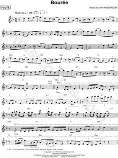 "Jethro Tull ""Bouree"" Sheet Music (Flute Solo) - Download & Print"