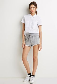 French Terry Drawstring Shorts | Forever 21 - 2000076956 I like the blouse