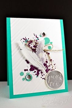 Scrabouki!: Des plumes... avec le nouveau jeu d'étampes Four Feathers. Visitez notre site pour plus d'idées créatives. Visit our website for more creative ideas. www.scrabouki.com Stampin'Up!, Four Feathers, Big Shot, Gorgeous Grunge