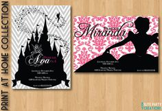 Printable Disney Princess Shilouette Invite. $9.75, via Etsy.