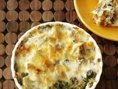 Reduced fat Hot Artichoke-Spinach Dip...uses cannelloni beans