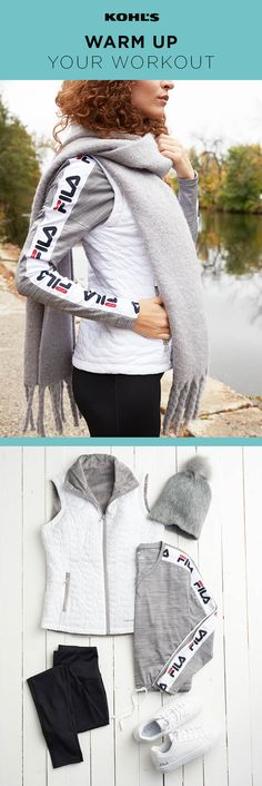 Cold weather can't keep you inside. You know that all it takes is dressing for the job. For your next walk or hike, bundle up in a FILA SPORT sweatshirt with a vest layered over it, paired with sneakers and a hat, just in case. Shop the winter workout outfit at Kohl's.