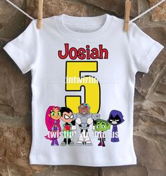 An awesome Teen Titans Go birthday shirt personalized with your child's name and age. All shirts are 100% cotton.  I use a professional heat press to transfer t