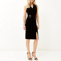 Black wrap sleeveless dress