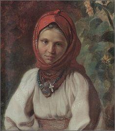 «Дівчинка в хустинці», невідомий художник.