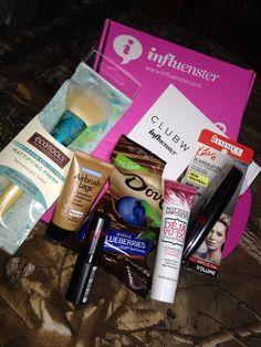 Bella VoxBox- Influenster - dove chocolate- Rimmel London mascara- Sally Hansen airbrush legs- Eco tool brush - Not your mothers déjà vu do- Rimmel London lipstick