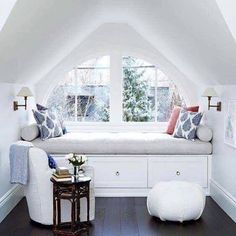 White attic window seat