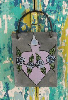 Flaming Heart   Lavender   Metal MilagrO  Original by CathyDeLeRee, $8.00