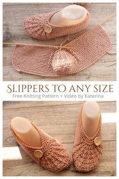 Knitting Videos, Loom Knitting, Baby Knitting Patterns, Free Knitting, Knitting Socks, Knitted Booties, Knitted Slippers, Knit Slippers Free Pattern, Crochet Baby Sandals