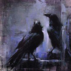 "Lindsey Kustusch ""Park Ravens"" with Pin It-button on http://barbarastroud.wordpress.com/2013/05/20/featured_artist_lindsey_kustusch/:"