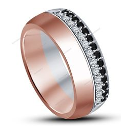 14K Rose Gold Plated 925 Silver Black/White Simulated Diamond Men's Wedding Band…