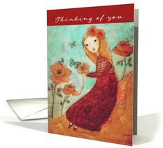 Thinking of you, Encouragement Cancer Patients, Folk Art Painting card