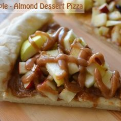 Apple Almond Dessert Pizza Recipe on Yummly Healthy Pizza Recipes, Real Food Recipes, Healthy Snacks, Cooking Recipes, Yummy Food, Healthy Eating, Healthy Kids, Healthy Cooking, Clean Eating