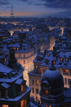 Nei cieli bigi guardo fumar dai mille comignoli Parigi .........