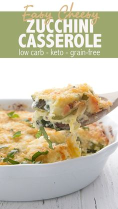 A delicious and creamy low carb side dish with a crispy pork rind crust. This keto recipe is a hit with the whole family zucchini zucchinirecipes lowcarb keto zucchinicasserole ketorecipes easyketo via All Day I Dream About Food Ketogenic Recipes, Low Carb Recipes, Healthy Recipes, Low Carb Zuchinni Recipes, Large Zucchini Recipes, Zucchini Keto Recipe, Shredded Zucchini Recipes, Keto Veggie Recipes, Pork Rind Recipes