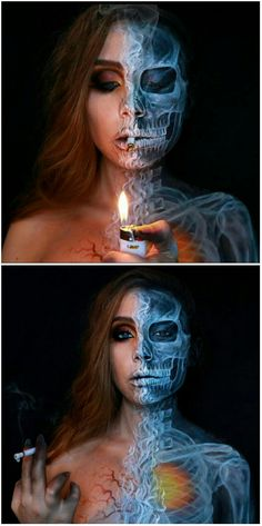 Smoking skeleton makeup by Pigeon_pie_art - Face paint,body paint, FX makeup - Halloween Body Makeup, Sfx Makeup, Costume Makeup, Makeup Art, Halloween Looks, Halloween Kostüm, Halloween Face Makeup, Special Makeup, Special Effects Makeup