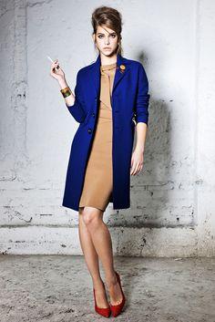 Cobalt jacket with nude dress