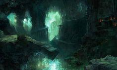 Fantasy Art Landscapes, Fantasy Landscape, Landscape Art, Dwarven City, Dragon Cave, Unique Drawings, Fantasy Concept Art, Call Of Cthulhu, Fantasy Dragon