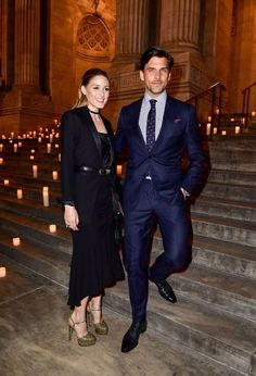 Olivia Palermo and Johannes Huebl arrive to the Montblanc UNICEF Gala Dinner at the New York Public Library on April 3 2017 in New York City