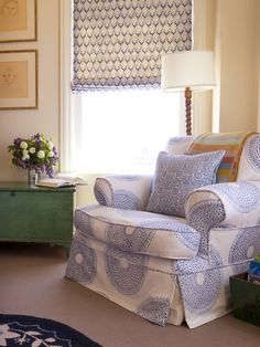 Chair covered with John Robshaw Kochi Lapis fabric and Mandu Lapis Dec Pillow