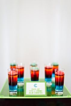 80s Wedding Inspiration Layered Jello shooters with POP ROCKS by Lillycakes
