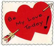 Retro Valentine Image - Double Heart with Arrow - The Graphics Fairy