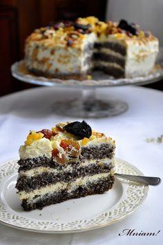 Mniam: Tort makowy z kremem waniliowym i nutą pomarańczy Poppy Seed Cake, Food Art, Feta, Toffee, Sweet Tooth, Cheesecake, Food And Drink, Cooking Recipes, Yummy Food