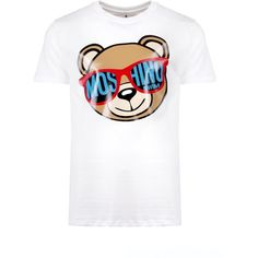 Moschino Moschino Bear In Shades T-Shirt (€145) ❤ liked on Polyvore featuring men's fashion, men's clothing, men's shirts, men's t-shirts, mens leopard print t shirt, mens patterned shirts, mens white t shirts, mens white shirts and mens print shirts