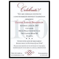 Classic 100th Birthday Celebrate Party Invitations