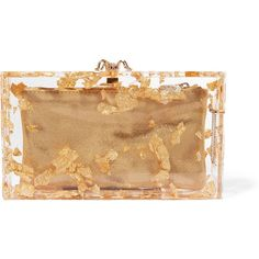 Charlotte Olympia Pandora foil-embellished perspex clutch ($1,715) ❤ liked on Polyvore featuring bags, handbags, clutches, gold, embellished handbags, acrylic clutches, clear pouch, beige clutches and lucite purse