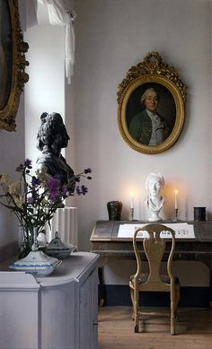 French decor- love the grey blue color of the table.