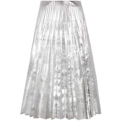 Gucci Metallic Pleated Leather Skirt (225.410 RUB) ❤ liked on Polyvore featuring skirts, gucci, silver, white leather skirt, knee length pleated skirt, metallic skirts and pleated skirts