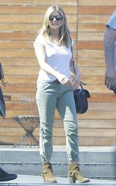 Jennifer Aniston wearing Nili Lotan Camo Cropped Military Pants
