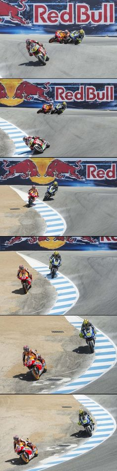 Marc Marquez Passing Valentino Rossi in The Corkscrew at Laguna Seca from AsphaltAndRubber.com via  Grouped image by http://pinthemall.net