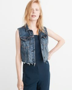 A&F Women's Cropped Denim Vest