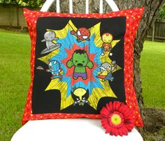 Marvel Pillow cover made from an old t-shirt and some spare fabric!