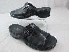 Clarks Sandals Slides Black Leather Women's Wedge Shoes 8 M #Clarks #Slides #Casual