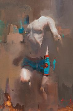 """Notion A"" - Christian Hook, oll on board, 2015 {figurative #expressionist art running male child torso cropped painting #loveart} christianhook.com"