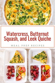 Watercress, Leek, and Butternut Squash Quiche - Meal Prep on Fleek™ Best Meal Prep, Meal Prep For The Week, Leek Quiche, Blanched Almond Flour, Yummy Veggie, Those Recipe, Perfect Food, Butternut Squash