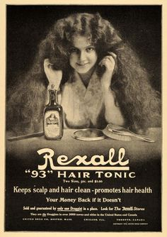 """This is an original 1911 black and white print ad for Rexall """"93"""" Hair Tonic which can be found in Rexall Stores. CONDITION This 100+ year old Item is rated Very Fine +++. Light fading throughout piec"""