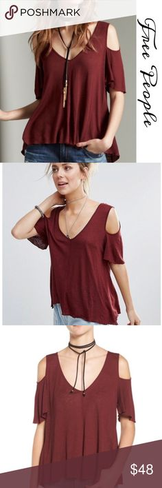 """Free People Bittersweet cold Shoulder Top Super comfy Rayon- Linen top with scoop neck, cold shoulders, Ruffle sleeves, hi-lo Hem . Approx measurements: Bust 42"""" Free People Tops"""