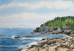 Otter Cliff, an original watercolor painting of Maine by Beth Whitney